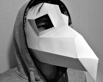 Plague Doctor Mask Raven Paper Beak Bubonic Diy Crow Papercraft Face Download Halloween Polygon Printable Pattern Pdf Cosplay Template Mask