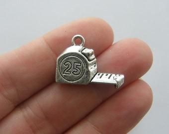 6 Tape measure charms antique silver tone P559