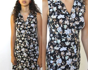 fare thee well -- vintage 90s floral print button up dress XS/S