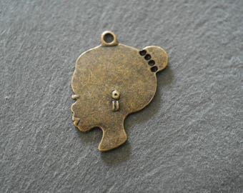 bronze 1 color woman's head charm pendant 28 x 26 mm