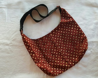 Crossbody Hobo Bag - Dark Red Batik