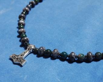 Blood and Thunder Mjolnir Necklace – thor's hammer – labradorite – bloodstone – heathen – mjollnir