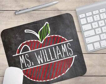 Personalized Teacher Mouse Pad, Teacher Custom Gift, Apple Mouse Pad, Teacher Desk Accessory, Gift For Teachers, Teacher Gifts (0086)