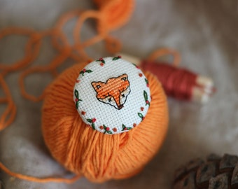 crossstitch and embroidered fox brooch