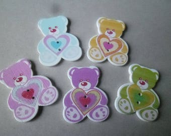x 5 mixed buttons wooden baby Teddy bear with multicolored pattern 2 holes 40 x 30 mm