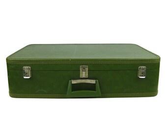 Vintage 1960s Olive Green Vinyl Suitcase Luggage, Stacking Nesting Suitcase, Large Luggage, Storage, Overnight Carry All, Wedding Photo Prop