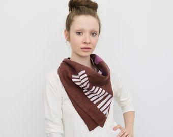 Organic Linen Block Print Scarf - Truffle with White Stripes/White Bowls/Pink Dots