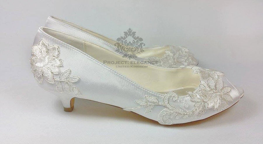 silver wedding shoes low heel ivory vintage lace peep toe low heel shoes 1 inch mid 7466
