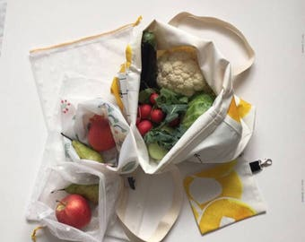 Big Zero Waste Shopping Kit With Yellow Circles / 5 Zero Waste Shopping Bags with a Shopper / 5 Zero Waste Shopping Bags Pouch and Bag