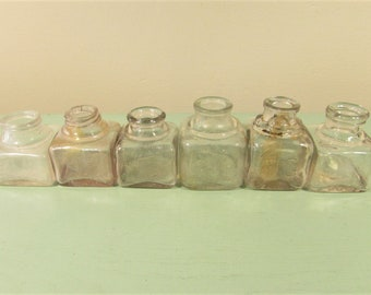 Antique Clear Glass Ink Well Bottle Square Lot