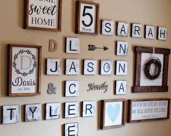 Large Scrabble Tiles, Scrabble Tiles, Scrabble Wall Art, Gallery Wall Decor, Farmhouse Style Decor, Personalized Sign, Wood Letter