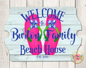 Custom House Sign - Personalized - Beach House Sign - Lake House Sign - Cottage - Farm House - Home Decor - Flip Flops - Housewarming Gift