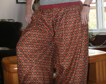 Orange and Green Cotton Fabric Pantaloons