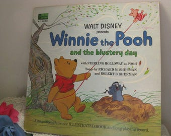 Walt Disney Winnie the Pooh ~~  1967 Record Album ~~ Winnie the Pooh and the Blustery Day Illustreated Book and Record
