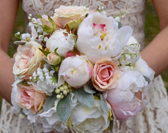 Wedding Bouquet, Silk Wedding Bouquet, Peony Wedding Bouquet, Bridal Bouquet, Silk Bouquet, Blush Peony Bouquet, MORNING GLORY Collection.
