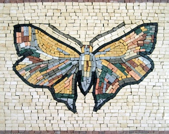 """Colorful SMALL Butterfly 16""""X12"""" Nature Marble Mosaic AN195"""