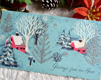Vintage Christmas Card - Pink Glittered Houses and Trees - Used From Our House
