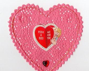 Vintage Pink Doily Heart Valentine | Greeting Card | Valentine's Day, Valentines, Romance, Hearts, Girlfriend, Boyfriend | Paper Ephemera