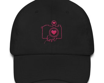 Love Photography Cap - Camera - gift for photography lover - Camera Love Photographer - hearts - heart - pink