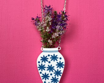 Laser Cut Acrylic Vase Necklace Blue and White Vase Necklace Statement Novelty Necklace