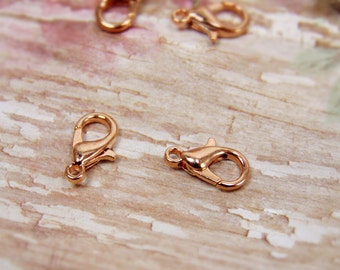 20 pcs - Rose Gold - Lobster Clasps - Jewelry Clasps - Bracelet Clasps - Necklace Clasps - Jewelry Findings - Jewelry Supplies - F0018