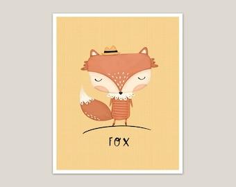 Fox with Fedora - Art Print 8x10