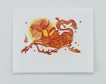 Tiny Beast - Linocut Print
