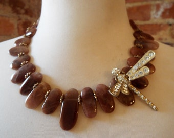 Brown Rutilated Quartz Choker Statement Necklace with Vintage Rhinestone Dragonfly Critter Brooch