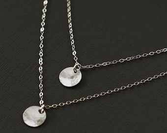 Layered Necklace - Double Silver Disc Necklace - Sterling Silver