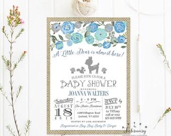 Woodland Baby Boy Shower Invitation // Rustic Burlap // Watercolor Dusty Blue Floral Deer Shower Boy Shower Printable OR Printed No.728BABY