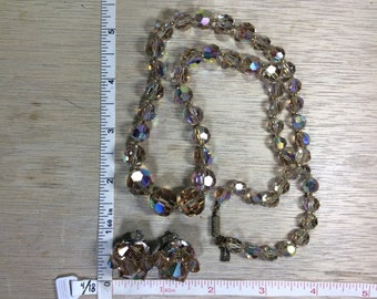 "Vintage 22"" Necklace Clip On Earring Set Champagne Aurora Borealis Beads Used"