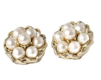 Vintage Earrings Coro Nest Jewelry Clip On Faux Pearl Goldtone Dressy Wedding Jewelry Costume Jewelry Earrings