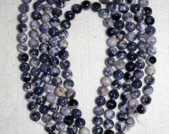 Tiffany Stone, Tiffany Stone Bead, Natural Stone, Semi Precious, RARE Stone, Purple White Black, Gemstone, HALF Strand, 10 mm, AdrianasBeads