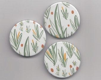 Leaf Badge / Scandinavian Modern Print Pin Brooch // Vegan Green Plant Badge