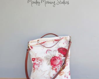 Large Shabby Rose Top Handle Bag in Pink Navy and Red, Vintage Style Convertible Foldover Floral Bag with Leather Strap, Cottage Chic Rose