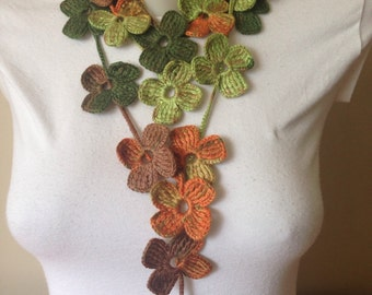 Floral Crochet Scarf in Autumn Colours Christmas Stoking,Christmas Gifts Gift for mom sister aunt best friend women grandma coworker boss