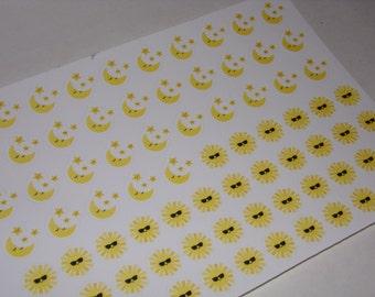 77 Night Shift / Day Shift Stickers / Sun Moon Stickers