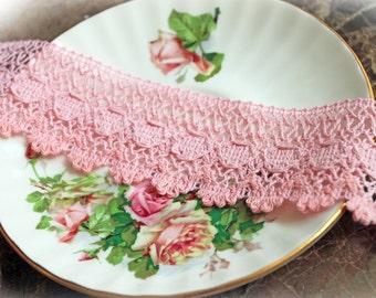Reneabouquets Trim- Shabby Dream Pink Cotton Crochet Lace, Wedding Trim, Sewing, Scrapbook, crafts