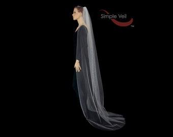 Chapel Length Bridal Veil, Cut Edge, Simple Veil