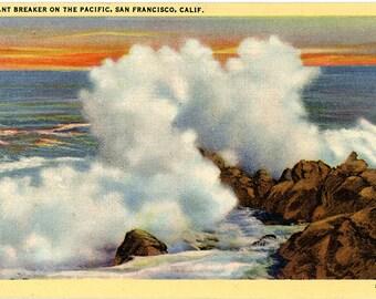 San Francisco California Giant Breakers on Pacific Ocean Vintage Postcard (unused)