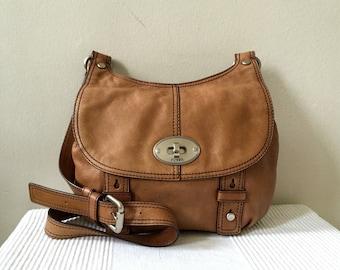 Sac à main Vintage cuir brun fossiles Rabat bandoulière sac à bandoulière