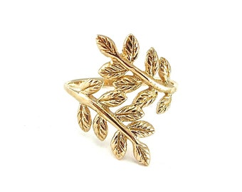 Leaf gold ring, gold ring, leaf ring, boho ring, gold leaf ring, statment ring, leaf jewelry, nature ring,