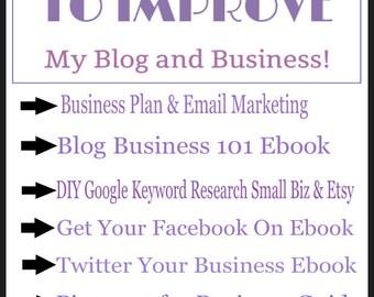 Business Planner-Business Plan-Blog Planner-Mega Biz Kit for Entrepreneurs-Etsy Biz-Blogging-All Social Media-Keyword Research-Video-Audio