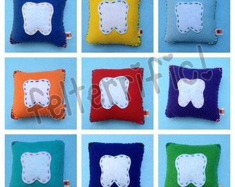 Handmade Felt Tooth Fairy Pillow Square Boy or Girl