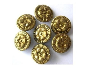 6 Antique vintage metal buttons, brass, flower etched ornament, unique, rare, might be collectible, 13mm