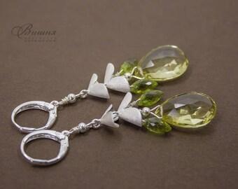 Yellow Earrings Silver 925 Earrings Lemon Citrine Earrings Gemstone Earrings Stone Earrings Delicate Earrings Lemon Citrine  Olivine
