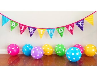 Polka Dot Happy Birthday Bunting Banner Flags Party Decoration