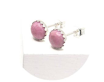 Rosy Pink Rhodonite Gemstone Handcrafted Round Stud Earrings 6mm Round