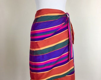 Sarong Wrap Skirt Striped Raw Silk Rainbow Ralph Lauren Size US 8 M/L Ethnic Thai Asian Mod