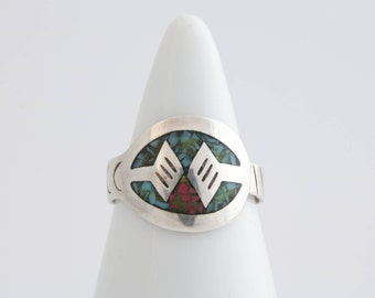Native American turquoise and coral chip ring / sterling silver and turquoise ring  / turquoise ring  / turquoise jewelry / 2209